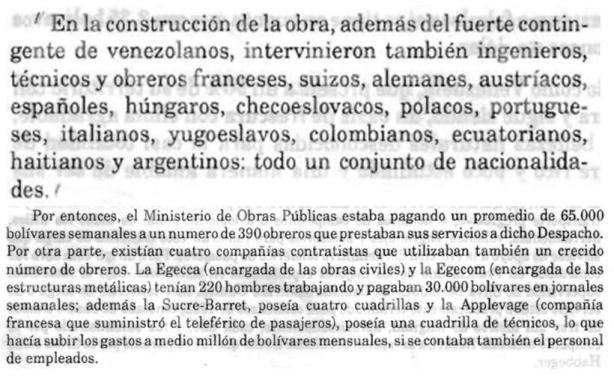 Estadísticas sobre trabajadores muy concretas y claras sobre la construcción del Teleférico de Mérida en 1.956-1.959