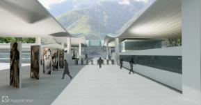 Otra visual del Render de la Estación Barinitas del Sistema Teleférico de Mérida