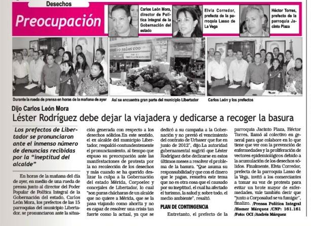 Declaraciones de Carlos Leon Mora respecto a la problematica de la basura en Mérida. Pico Bolívar. 29 de Agosto de 2012