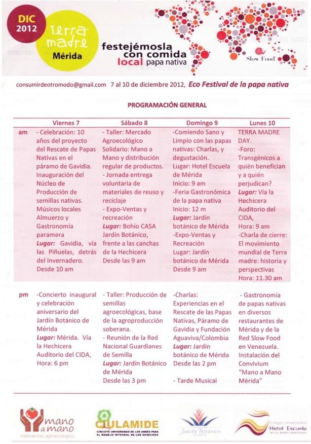 Festival Terra Madre & Papa Nativa, Mérida y Gavidia