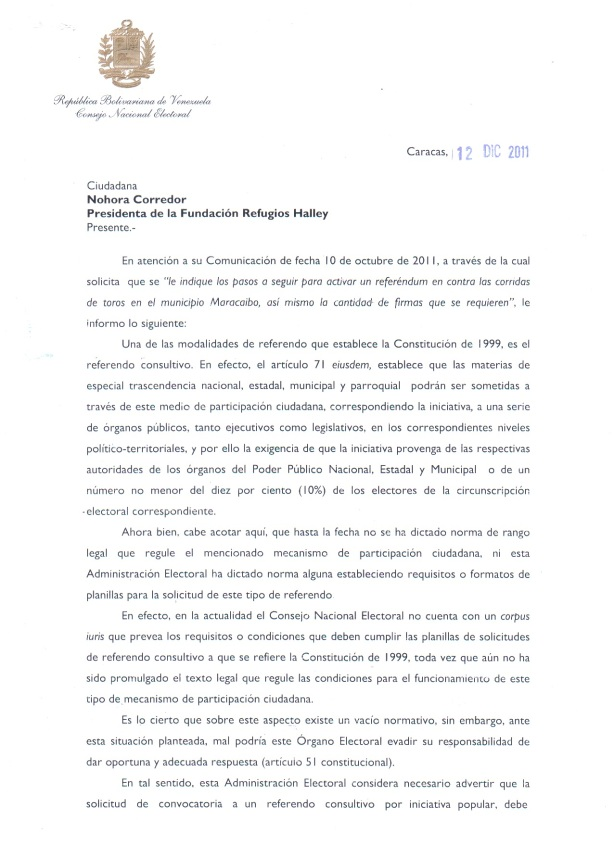 Carta Respuesta Referendum Corridas de Toros CNE Parte 1
