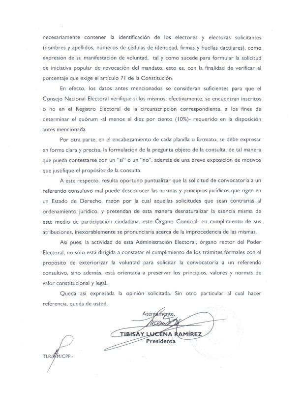 Carta Respuesta Referendum Corridas de Toros CNE Parte 2