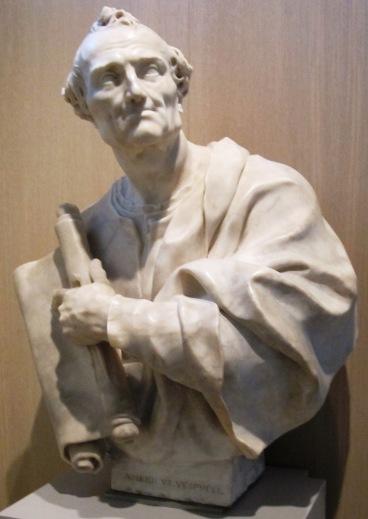 Busto de Americo Vespucio en el Museo Galileo, Florencia. Italia